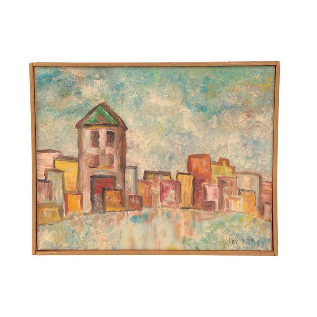 Mid-Century Modern Early Oil on Linen Landscape Painting by Steven Sles For Sale - Image 3 of 3