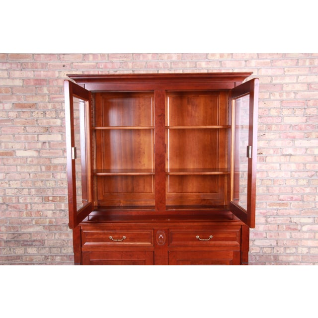 French Provincial French Provincial Solid Cherry Breakfront Bookcase or Bar Cabinet by Grange For Sale - Image 3 of 13