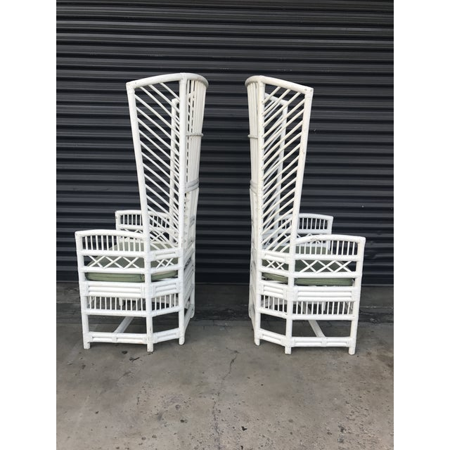 Vintage Rattan High Back Chairs - a Pair - Image 4 of 11