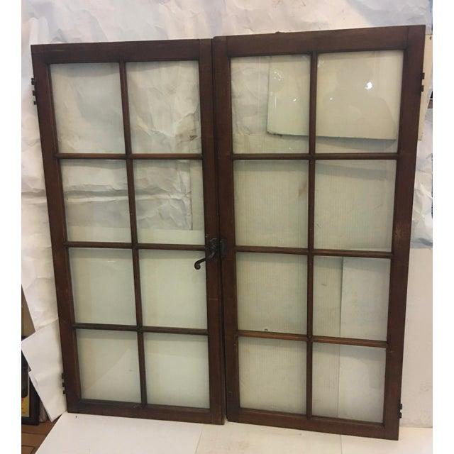 Metal 19th Century Philadelphia 2 Panel Walnut Wood Window For Sale - Image 7 of 7