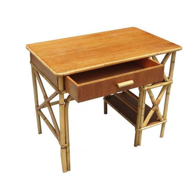 Restored Rattan & Mahogany Secretary Desk With Side Shelf - Image 3 of 8