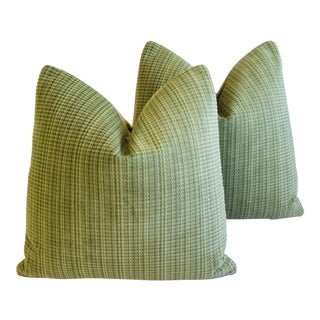 "Italian Scalamandre Velvet Feather/Down Pillows 21"" Square - Pair For Sale"