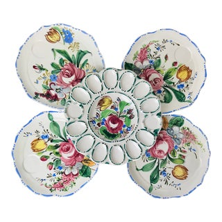 Vintage Hand Painted Italian Ceramic Party Plate Set - 5 Pieces For Sale