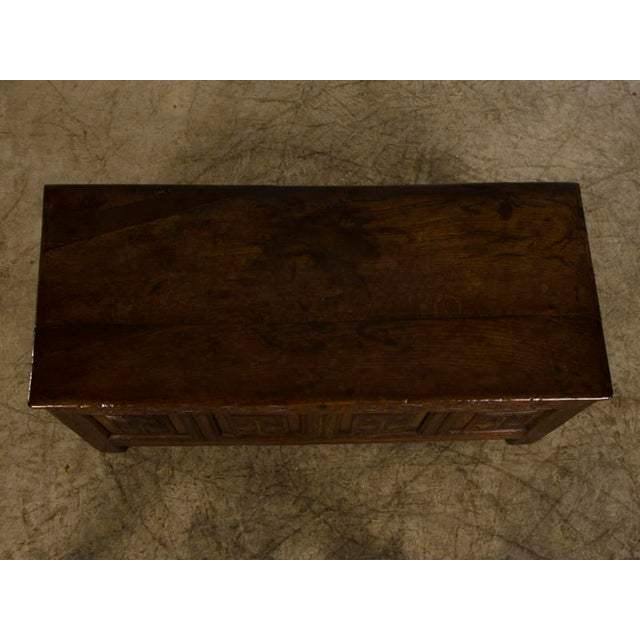 Antique English Jacobean Style Oak Trunk circa 1820 For Sale - Image 4 of 9