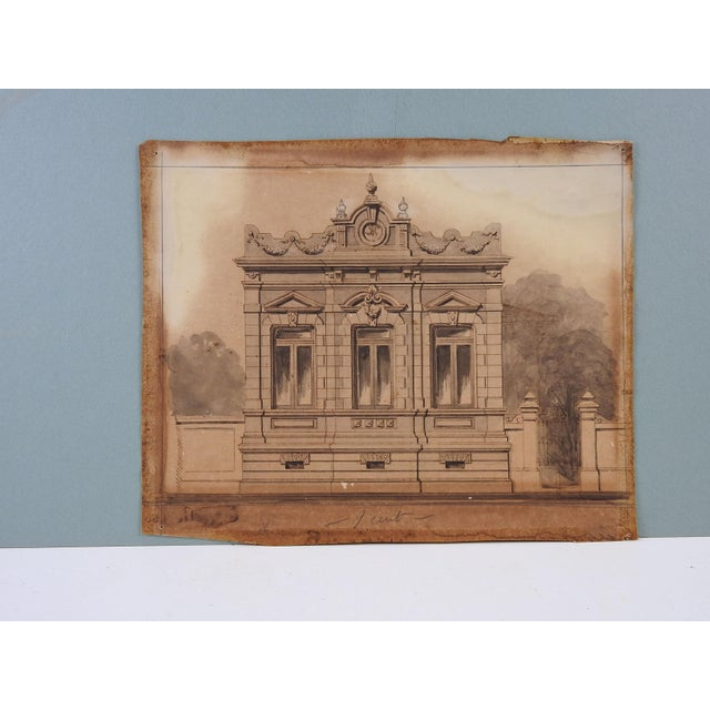 Architectural watercolor and pencil on paper by Luiz Olivieri, Italy/Brazil, circa 1900. Unframed. Age toning, edge wear.