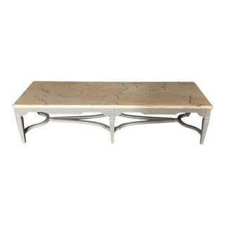 Large Rectangular Coffee Table With Beveled Carrera Top For Sale