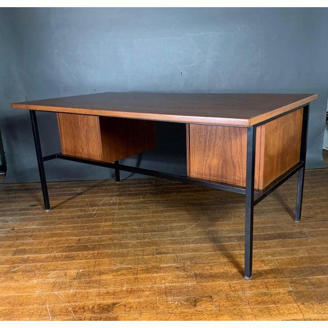 Mid-Century Teak & Black Lacquer 7-Drawer Desk For Sale - Image 9 of 11