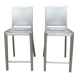 Emeco Hudson Counter Stools in Brushed Aluminum by Philippe Starck - a Pair For Sale