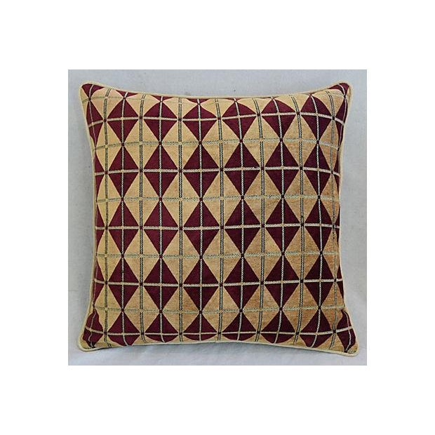 Pair of large custom-tailored pillows in a woven ultra-soft vintage/never used velvet chenille fabric with a geometric...