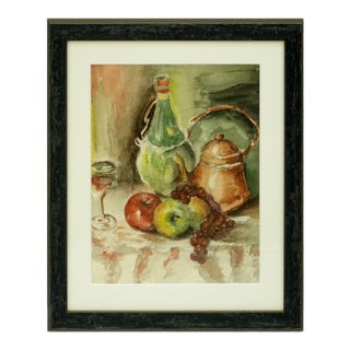 Abstract Expressionist Still Life Watercolor Painting For Sale