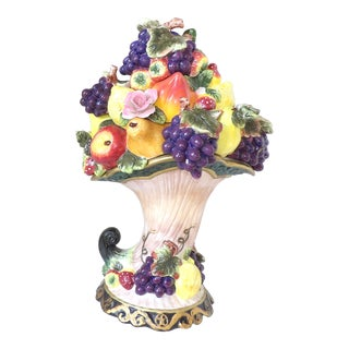 20th Century French Majolica Fruit Basket Centerpiece For Sale