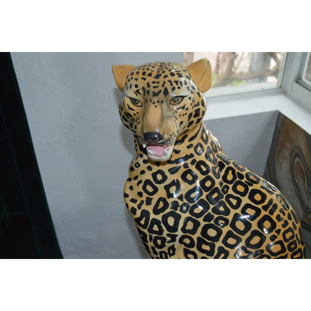 African Vintage Leopard Statue For Sale - Image 3 of 4