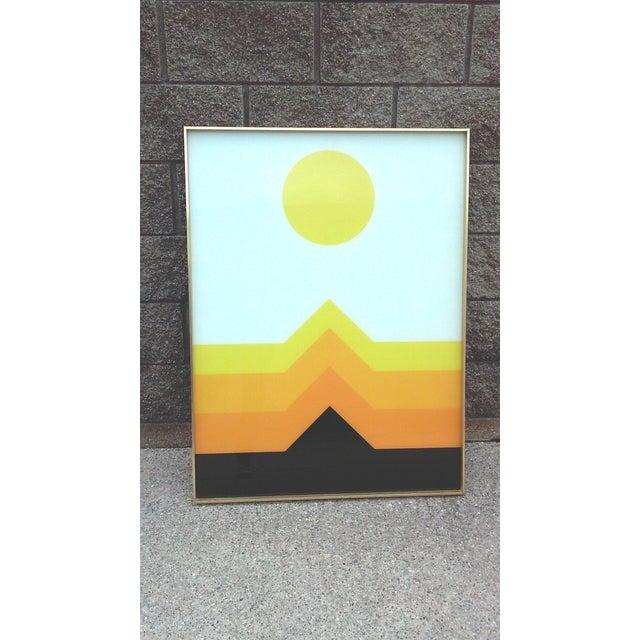 1970s OpArt Geometric Framed Print - Image 2 of 5