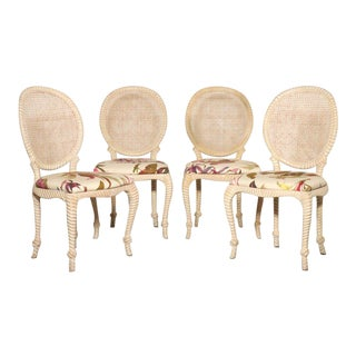 Italian Comini & Modonutti Carved Knotted Rope Chairs - Set of 4 For Sale