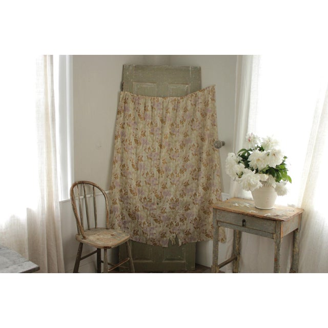 Antique French Art Nouveau Light Weight Cotton Roller Print Floral Sheer Fabric For Sale - Image 9 of 12