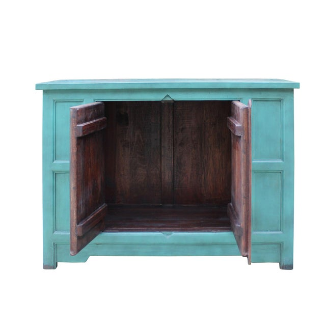 Wood Simple Shabby Chic Rustic Light Blue Low Credenza Cabinet For Sale - Image 7 of 8
