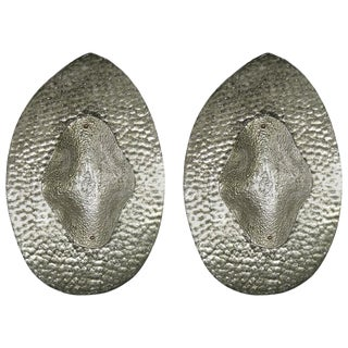 1990s Modern Italian Silver Finish Textured Murano Glass Concave Sconces - a Pair For Sale