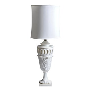 Antique Italian Pierced White Alabaster Table Lamp, 30 Inches High For Sale