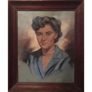 1950s Vintage Original Signed & Framed Pastel Female Portrait Painting For Sale