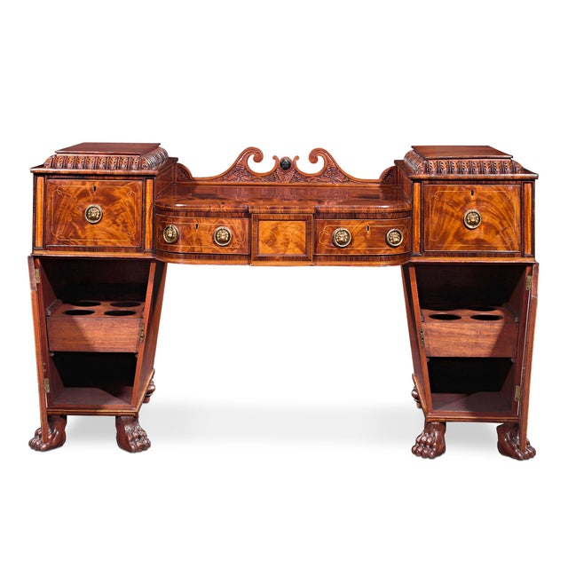 Gothic Regency Mahogany Pedestal Sideboard For Sale - Image 3 of 4