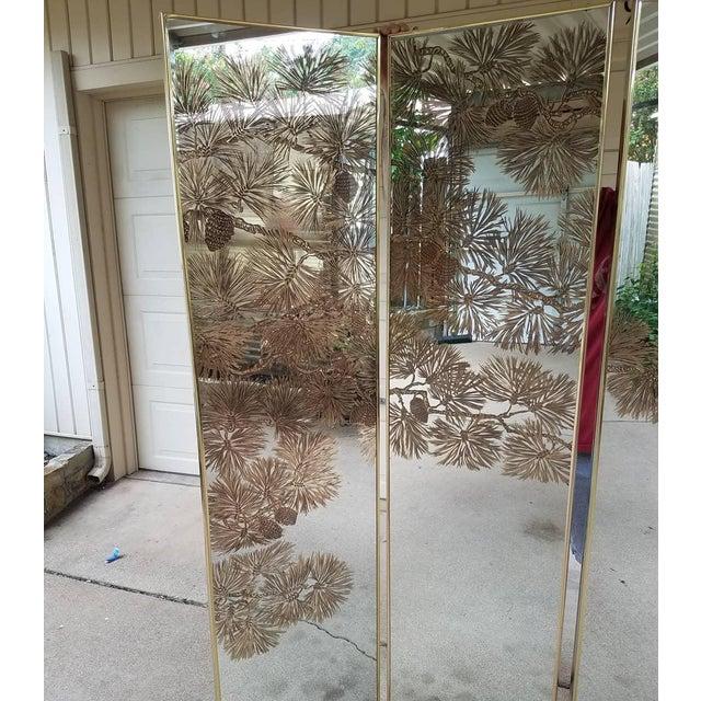 Boho Chic Vintage Gold Etched Mirror Room Divider For Sale - Image 3 of 10