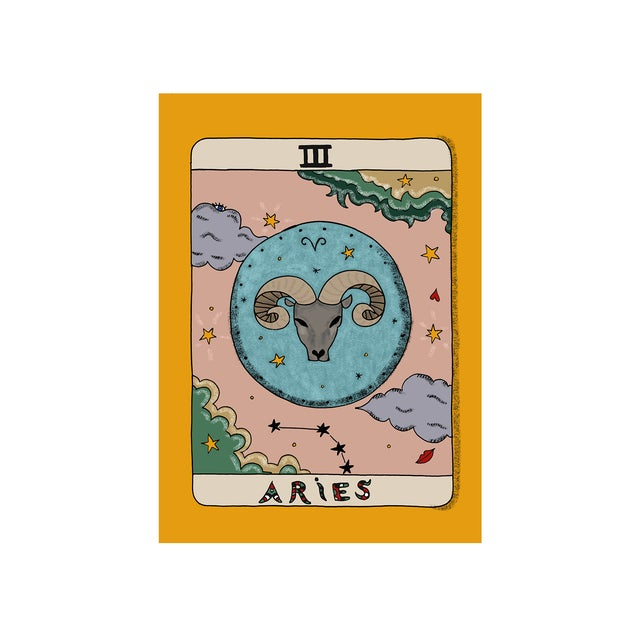 Contemporary Aries Horoscope Giclée Print by Artist Hala Salem For Sale