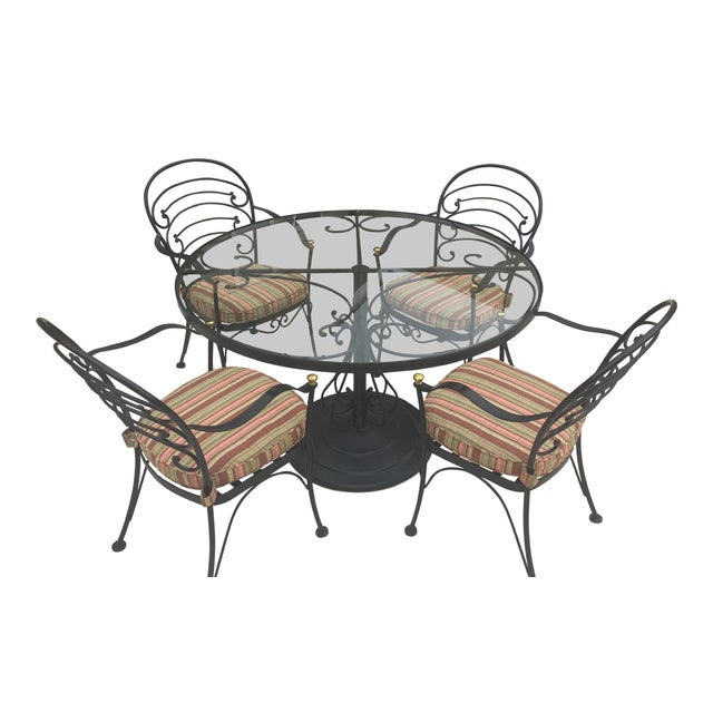 Early 21st Century Woodard Wrought Iron Patio Set- 5 Pieces For Sale - Image 10 of 10