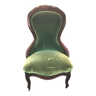 Victorian Mahogany Frame Green Velvet Lady's Slipper Chair For Sale