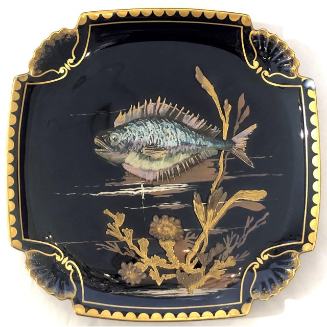 Antique French Limoges Cobalt and Gold Painted Porcelain Fish Service of 10 Plates and 1 Platter, Circa 1890. For Sale - Image 4 of 5