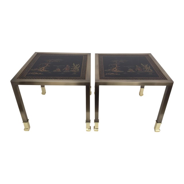 DIA Brass Chinoiserie Design Side Tables - Pair - Image 1 of 9