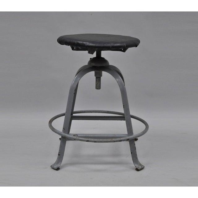 Antique American Industrial Grey Steel Metal Adjustable Work Stool For Sale - Image 10 of 10