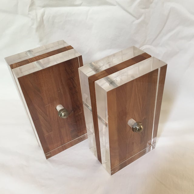 1970s Herb Ritts for Astrolite Lucite & Wood Bookends- a Pair For Sale - Image 11 of 11