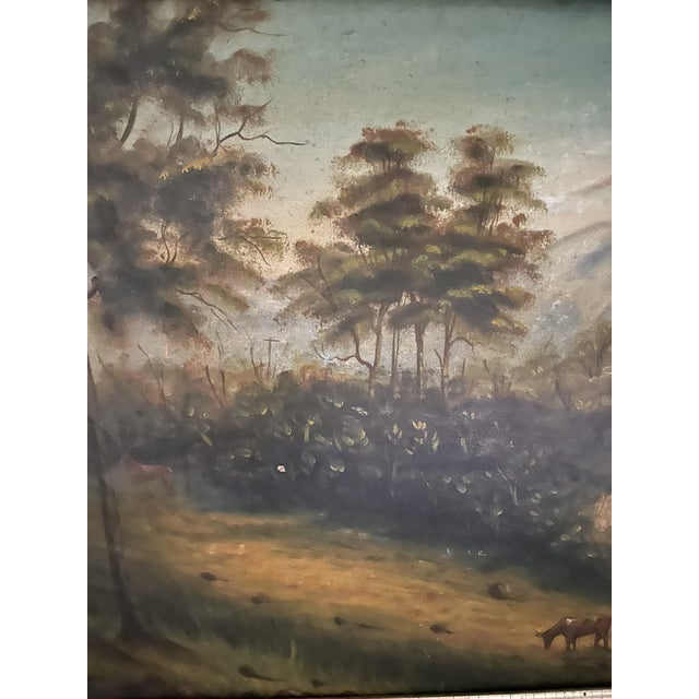 Green Antique Oil Painting of Landscape For Sale - Image 8 of 13