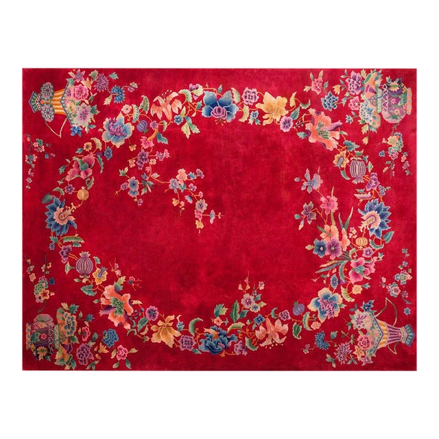 "1930s Chinese Art Deco Rug - 8'9""x11'6"" For Sale"