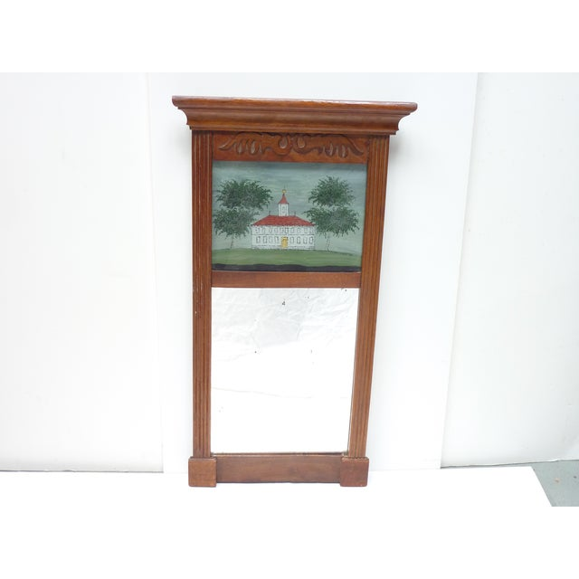American 19th century wooden mirror with glass eglomise panel at top of home, original mirror with slight distressing,...