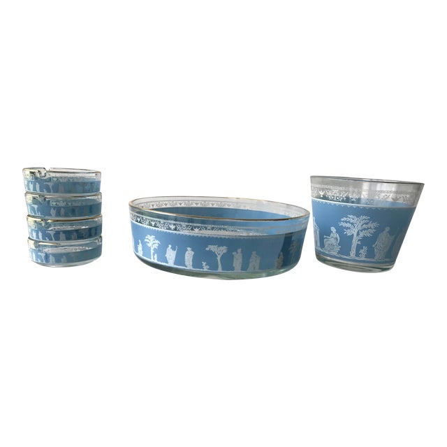 1970s 1970s Mid Century Blue Jeannette Wedgwood Glass Hellenic Party Set - Set of 6 For Sale - Image 5 of 5