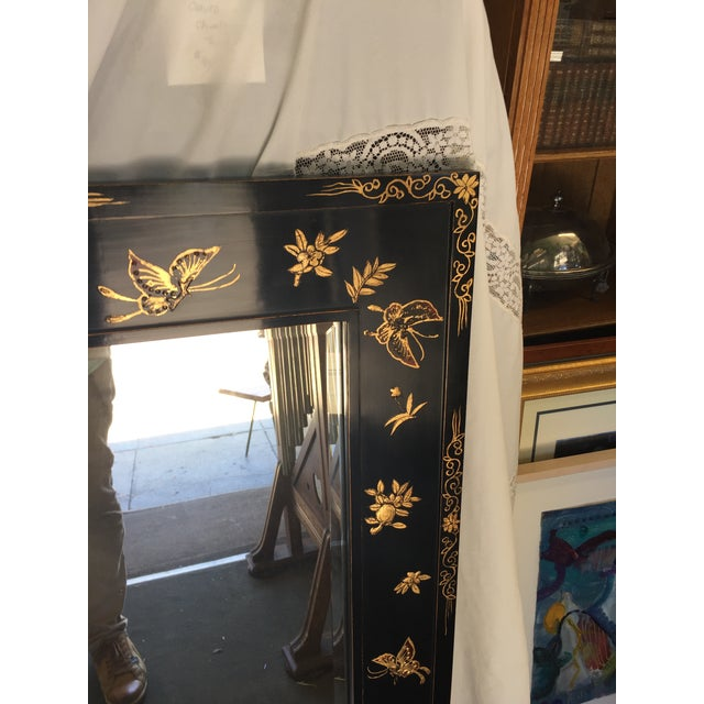1980s Chinoiserie Wal Mirror Decorated With Butterflies For Sale - Image 5 of 13