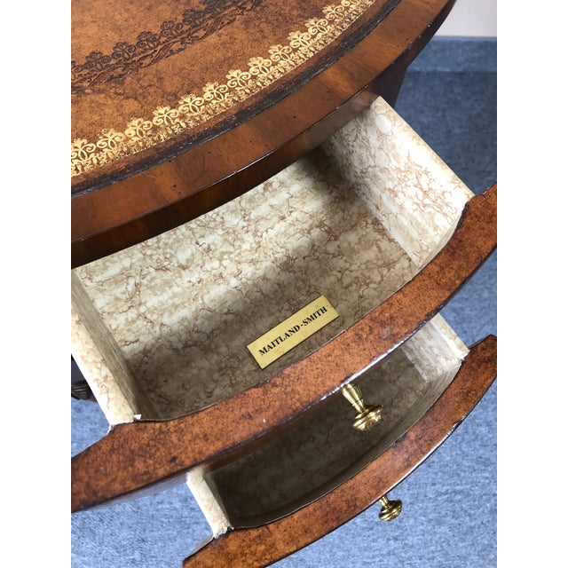 Brown Round Leather Wrapped Side Table Cabinet With Trompe l'Oeil Books For Sale - Image 8 of 13