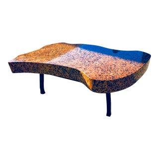 Pink Granite Biomorphic Mid-Century Modern Coffee Table For Sale