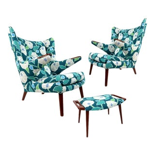 Vintage Hans Wegner Papa Bear Chair Set With Ottoman in Floral Print For Sale