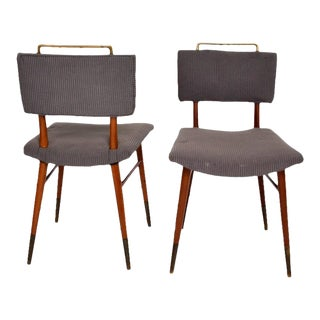 Set of 15 Mid-Century Modern Mahogany & Brass Dining Chairs For Sale