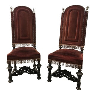 Antique 19th Century Spanish Revival Chairs - a Pair