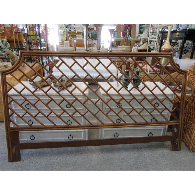 King Size Rattan Chippendale Headboard - Image 2 of 6