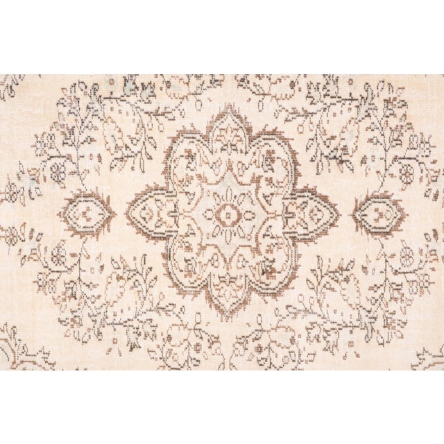 "Mid-Century Modern Vintage Anatolian Oushak Kars Handwoven Distressed Ushak Area Rug 5'12"" X 9'8"" For Sale - Image 3 of 11"