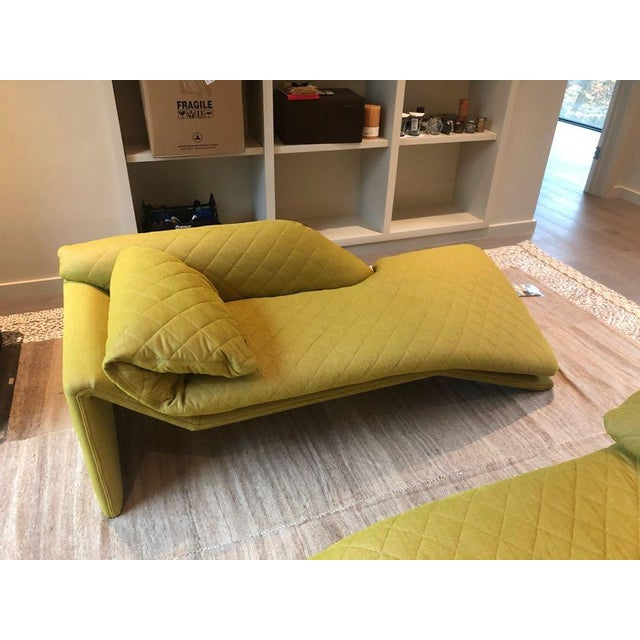 1970s Vintage Chaise in Adelene Simple Cloth Plush Crush Egg Yolk Fabric For Sale - Image 5 of 7