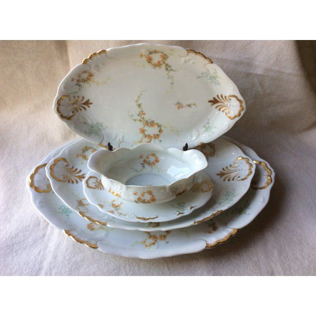 Limoges, France French Heirloom Porcelain Gravy Boat and Platters Serving Pieces - 4 Pc. Set For Sale - Image 4 of 13