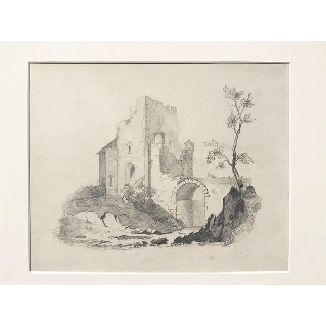 Antique English landscape drawing of castle ruins. Finely detailed, executed in graphite, circa 1850s. Presented in cream...