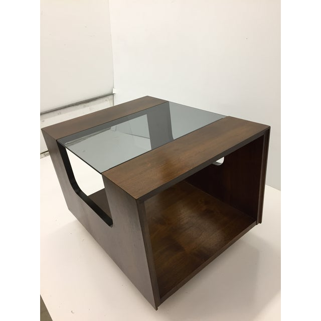 Lane Furniture 1970s Lane Smoked Glass Walnut Cubed Side Table For Sale - Image 4 of 7