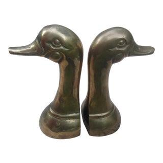 1960s Brass Duck Head Bookends - A Pair For Sale
