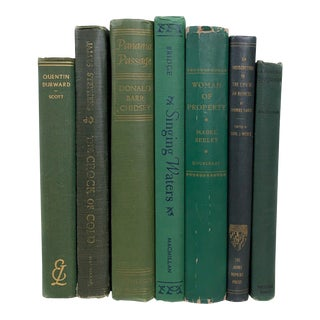Vintage Green Decorative Books - Set of 7 For Sale